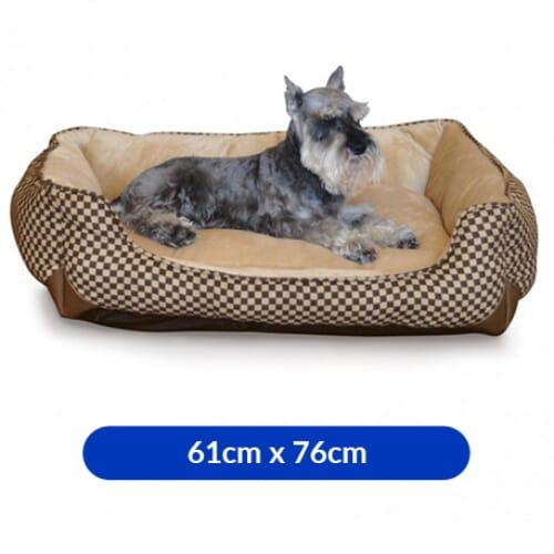 K & H Self-Warming Lounge Sleeper Medium Brown Square Print 24